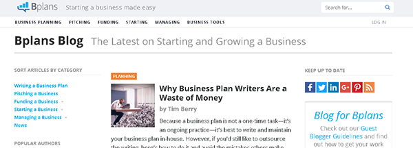 Screenshot of the business blog of Bplans