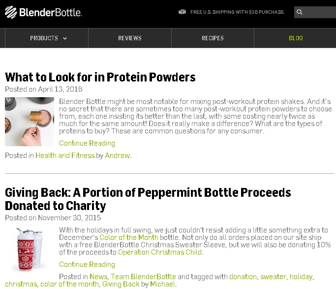 Screen shot of Blender Bottle blog