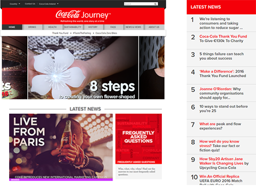 Example of corporate website design of Coca Cola