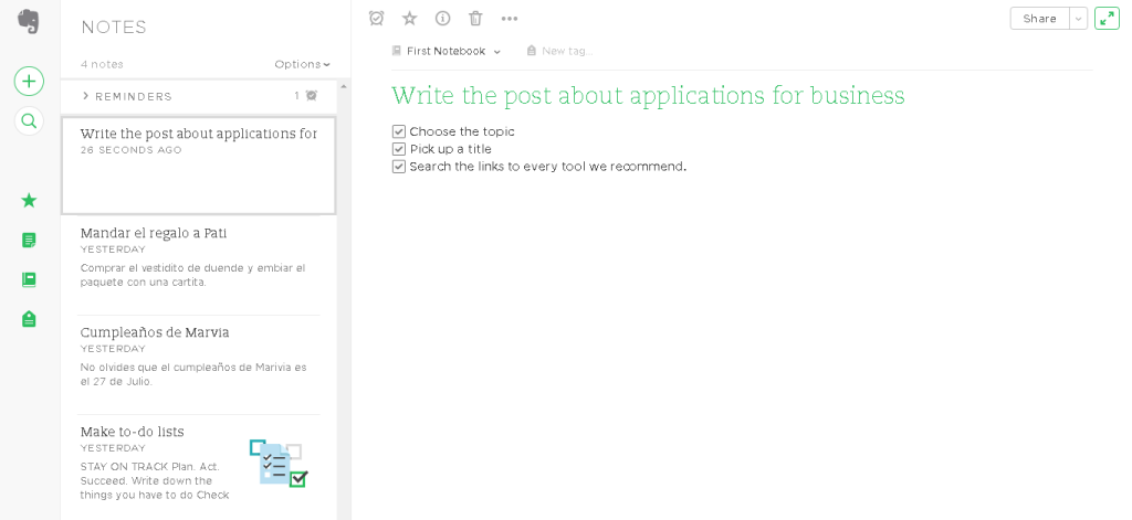 Application for business Evernote