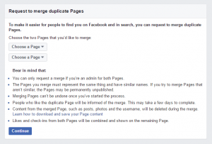 Merge Options for a Facebook Page